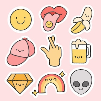 Fun and cool sticker hand drawn cartoon collection