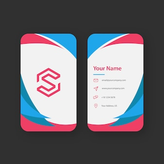Fun corner blue and red business card