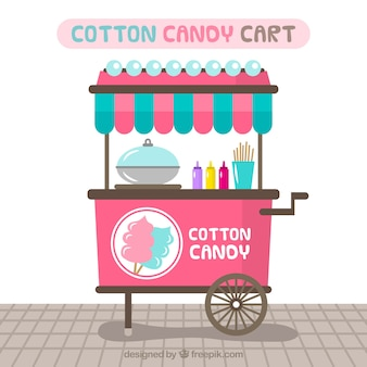 Fun cotton candy cart with flat design