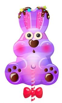 Fun cute cartoon bunny lollipop with bow.