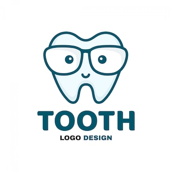 Fun cute happy smart smiling tooth logo template