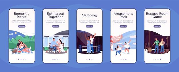 Идеи веселых свиданий на плоском шаблоне экрана мобильного приложения
