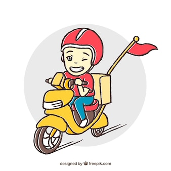 Fun delivery man on scooter
