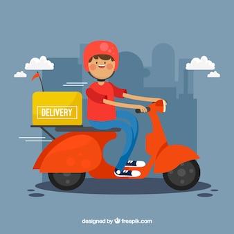 Uomo di consegna divertente con scooter
