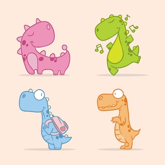 Fun dinosaur cute character  animal line art