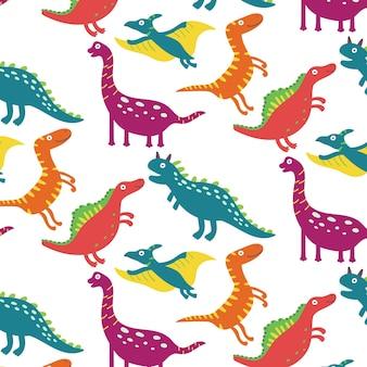 楽しい恐竜のシームレスなパターン