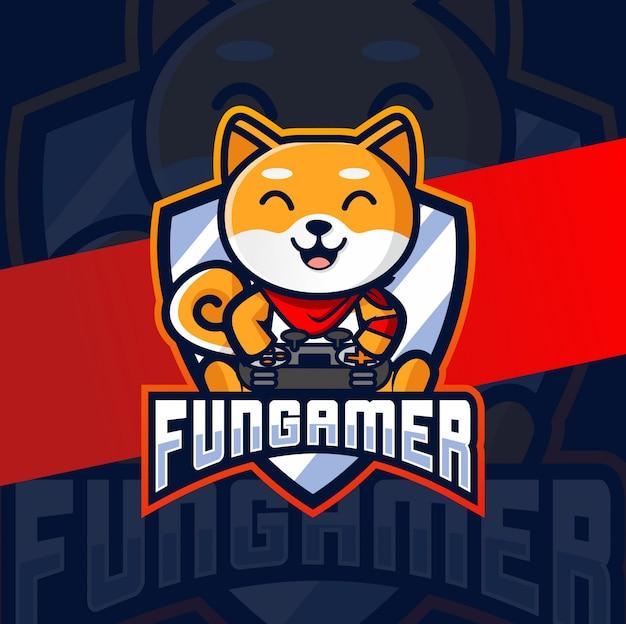Веселая собака геймер талисман киберспорт дизайн логотипа