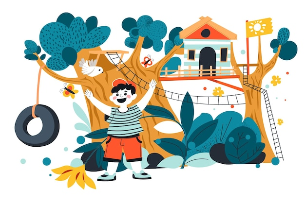 Fun and entertainment for child, kid playing in amusement park on tree house. small kiddo on holidays or weekends spending time outdoors. camp or back yard structure for games. vector in flat style