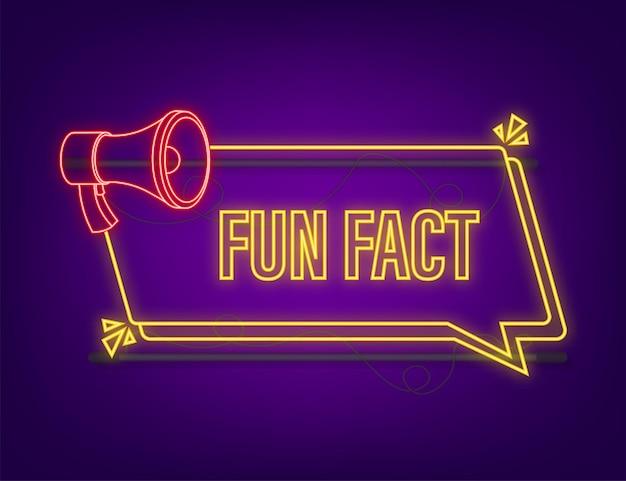 Fun fact neon icon on dark background. vector stock illustration.