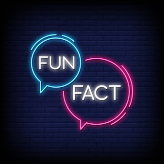 Fun fact neon sign vector. facts design template neon sign