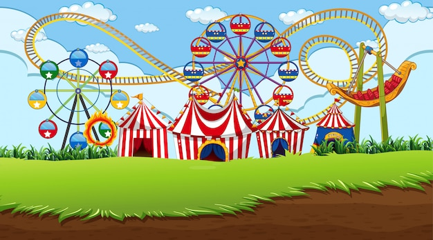 Fun fair background scene