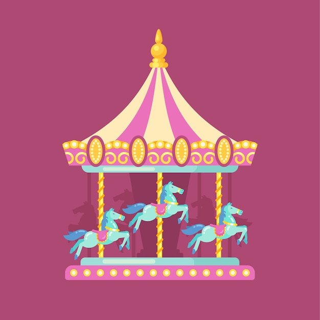 Fun fair carnival flat illustration