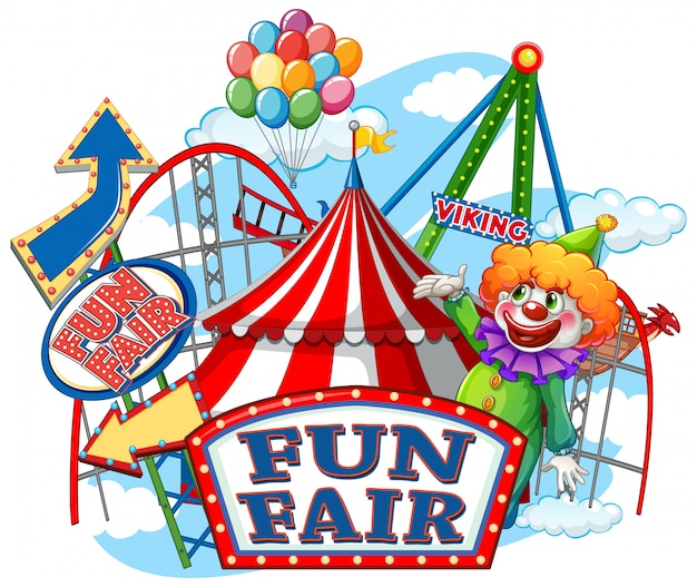 Fun fair sign and circus rides in