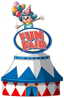 Fun fair sign template with big tent and happy clown