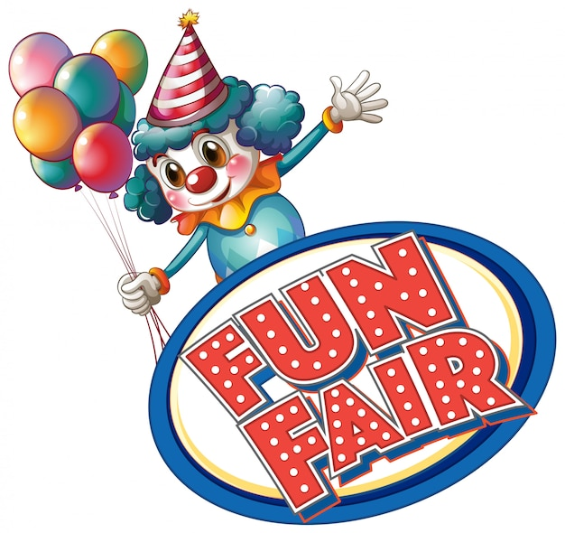 Шаблон знака fun fair с клоуном и воздушными шарами