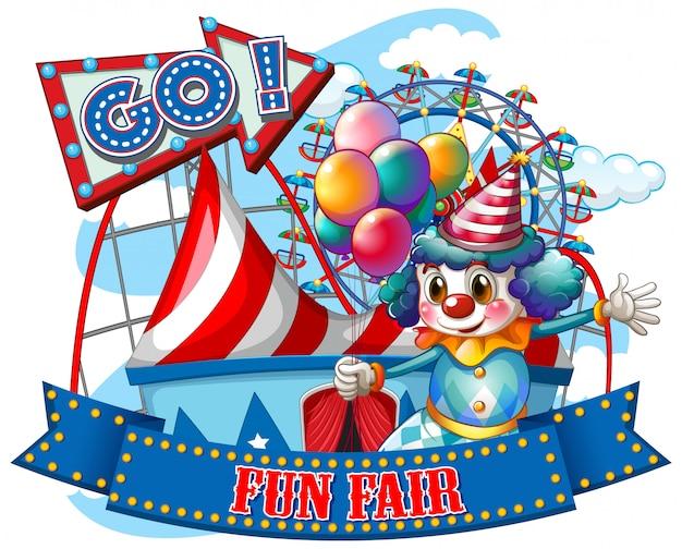 Шаблон знака fun fair со счастливым клоуном и поездками