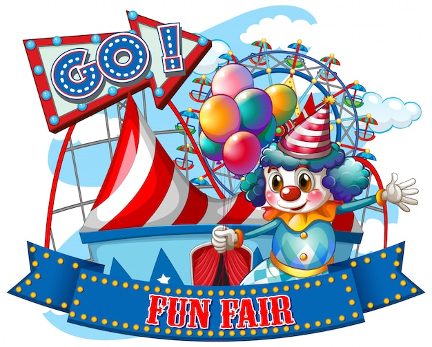 Fun fair sign template with happy clown and rides