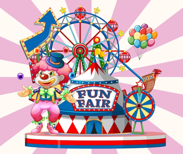 Fun fair sign with happy clown and many rides