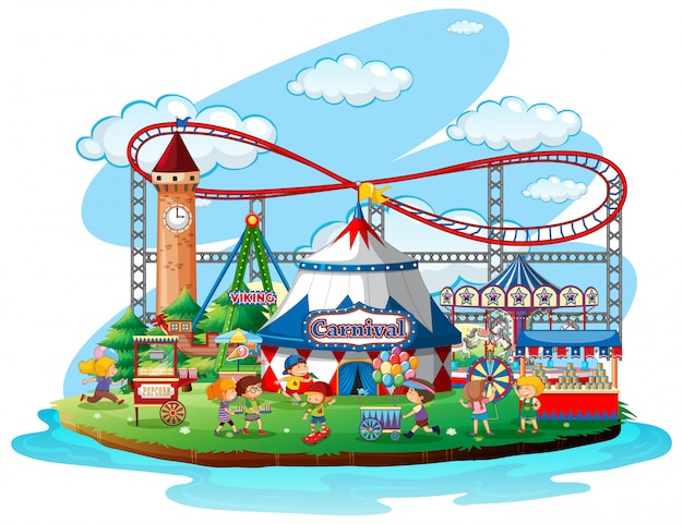 Fun fair theme park on isolated background