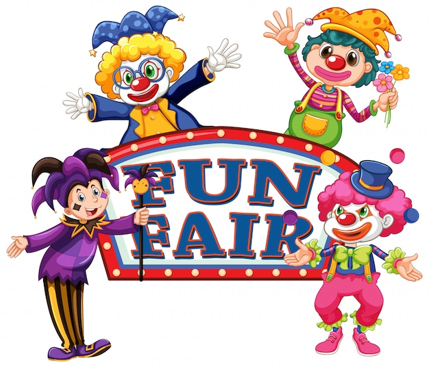 Шаблон знака fun fair с четырьмя счастливыми клоунами