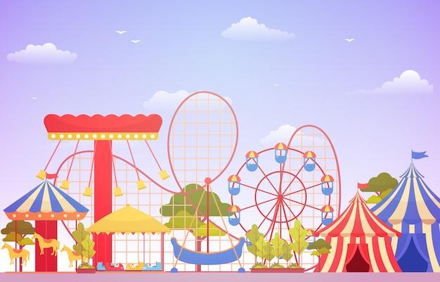 Цирковый карнавальный фестиваль fun fair с фейерверком пейзаж