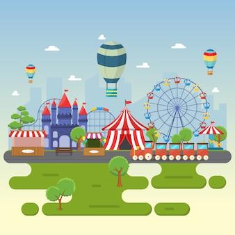 Парк развлечений цирк карнавальный фестиваль fun fair пейзаж иллюстрация