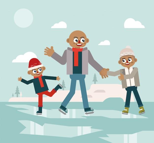 Fun family ice skating on winter