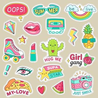 재미있는 패션 십대 스티커. 십대를위한 귀여운 만화 패치.
