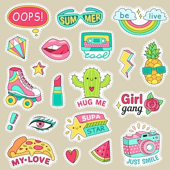 Fun fashion teenage stickers. cute cartoons patches for teenager. Premium Vector