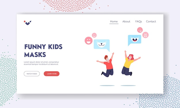 Fun, fashioned accessory landing page template. happy children characters in funny face masks with animal muzzles print jump with raised hands. new normals of life. cartoon people vector illustration
