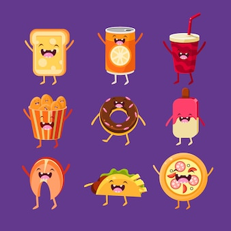 Fun fast food illustration set