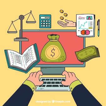 Concetto finanziario divertente con il calcolatore disegnato a mano