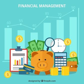 Веселые финансовые элементы с плоским дизайном