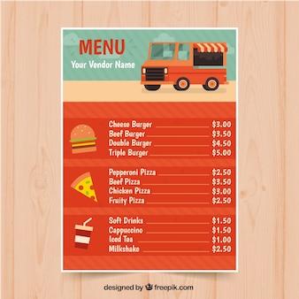 フラットデザインの楽しい食品トラックメニュー