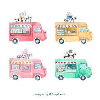 Fun food truck pack with watercolor style