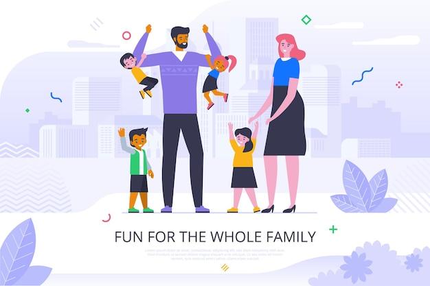 온 가족 플랫 배너 벡터 템플릿에 대한 재미. 부모와 어린 아이들 만화 캐릭터. 행복한 어린 시절, 부모 포스터 레이아웃입니다. 타이포그래피와 아이 일러스트와 함께 웃는 커플