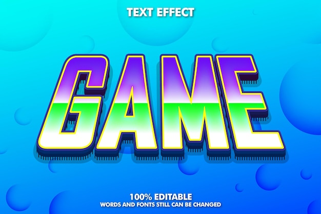 Fun game editable text effect and