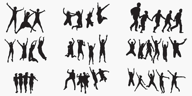 Fun group silhouettes