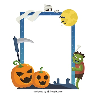 Веселая рамка хэллоуина с плоским дизайном