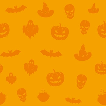 Fun halloween icons  seamless background pattern.