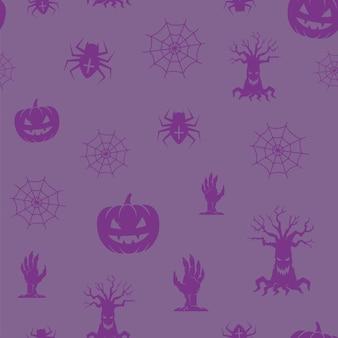 Весело хэллоуин иконы бесшовные фоновый узор.