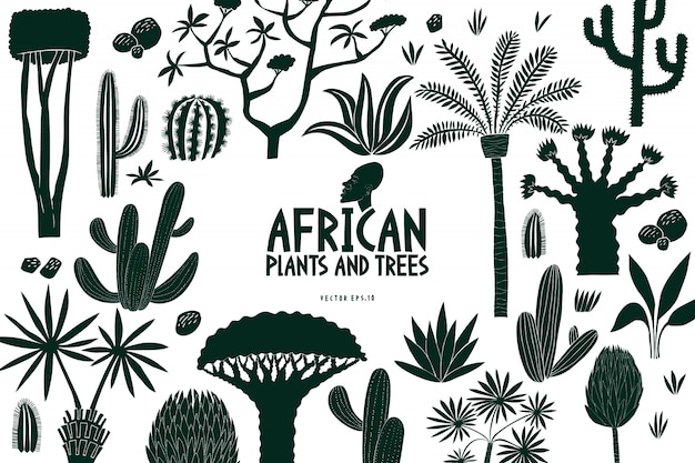 Fun hand drawn african plants and trees design template