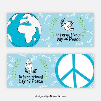 Fun hand drawn banners for day of peace