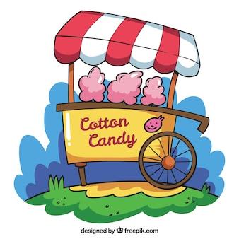 楽しい手描きの綿のキャンディーカート
