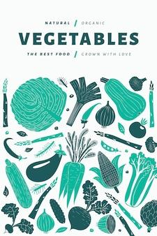 Fun hand drawn vegetables design template.