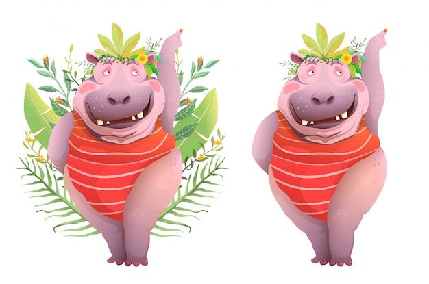 楽しい陽気な幸せな笑顔のカバの漫画。ジャングルの緑でポーズをとって歯を持つ面白い笑う女性カバのキャラクター。 watrecolorスタイルのリアルなプリントデザイン。