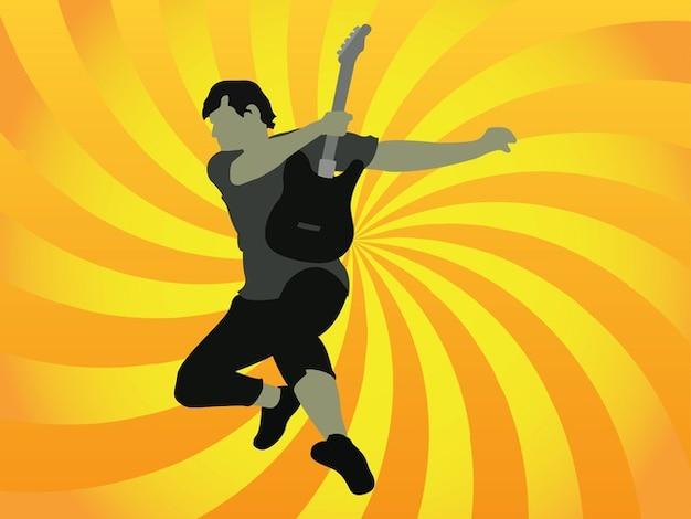 Fun jumping guitar player vector