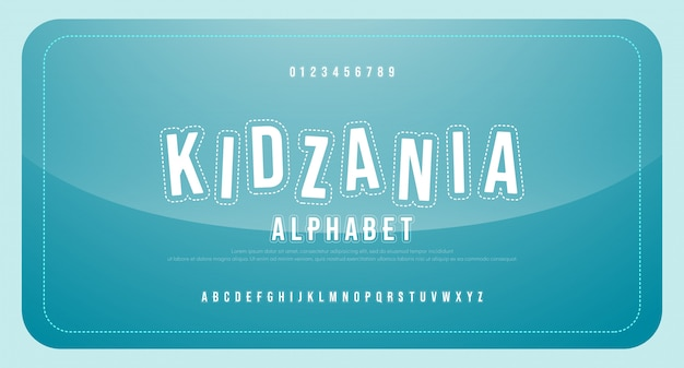 Fun kids cartoon font alphabet uppercase and number. funny comic game education regular fonts.