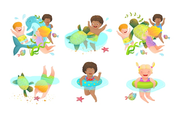 Fun kids and kindergarten cartoon water activities for children with inflatables and sea creatures.happy swimming vacation.  illustration.