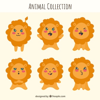 Fun lion collection with flat design